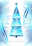 Blue Christmas tree, cdr vector. Greeting card with abstract blue christmas tree, vector format royalty free illustration