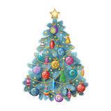 Blue Christmas tree with colorful ornaments, vector illustration Royalty Free Stock Photography