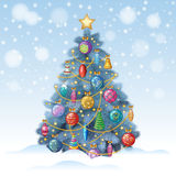 Blue Christmas tree with colorful ornaments, vector illustration Royalty Free Stock Photo