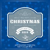 Merry Christmas and Happy New Year greeting card, poster, banner on blue snowflakes pattern background. Blue Christmas tree on dark snowflakes pattern background Stock Image