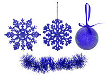 Blue christmas tree decorations collection Stock Photo