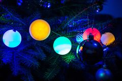 Blue Christmas Tree Decorations. Colour baubles Stock Photos