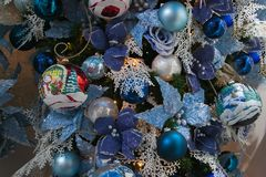 Blue Christmas tree decorations Royalty Free Stock Photography