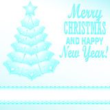 Blue Christmas tree festive paper style Royalty Free Stock Photography