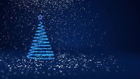 Blue Christmas tree from glow shiny particles on the left in wide angle shoot. Winter theme for Xmas or New Year. Christmas tree from glow shiny particles on the stock footage