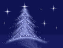 Blue christmas tree illustration with stars and sparkles Royalty Free Stock Photography