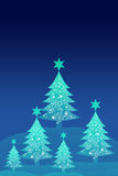 Blue christmas tree with night sky background. Greeting card background Stock Photo