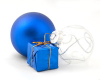 Blue Christmas tree ornaments. Of different shapes Royalty Free Stock Photo