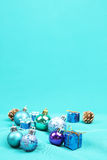Blue Christmas tree ornaments on blue background - Series 3. Christmas tree ball ornaments on blue background Royalty Free Stock Images