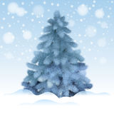 Blue Christmas tree, realistic vector illustration. Stock Photography