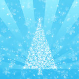 Blue Christmas Tree with Snowflake background Royalty Free Stock Photos