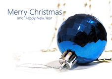 Blue Christmas tree toy ball on a white background Stock Image