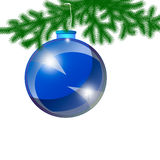 Blue Christmas-tree toy on a white background Royalty Free Stock Photos