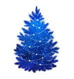 Blue Christmas tree on white background Royalty Free Stock Images