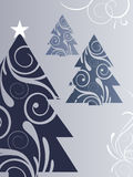 Blue christmas trees. Vector illustration with blue christmasy elements Royalty Free Stock Photo