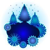 Blue christmas trees. Abstract a background preparation for the designer Stock Photography