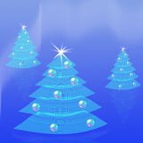 Blue Christmas trees background. Royalty Free Stock Photography