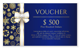 Blue Christmas voucher with golden snowflakes and Stock Image