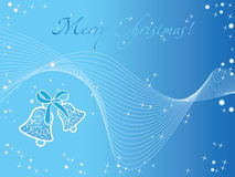 Blue christmas wallpaper with bells Royalty Free Stock Photography