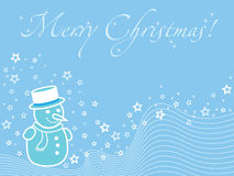 Blue christmas wallpaper with snowman Royalty Free Stock Photo