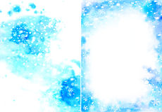 Blue christmas watercolor background with snowflakes Royalty Free Stock Images