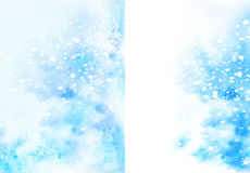 Blue christmas watercolor background with snowflakes Royalty Free Stock Image