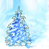Blue christmas watercolor background with Royalty Free Stock Image