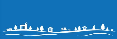 Free Blue Christmas Winter Landscape With Church Firs Houses And Gifts Stock Images - 126787174