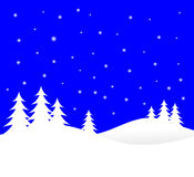 Blue Christmas Winter Scene Stock Photos
