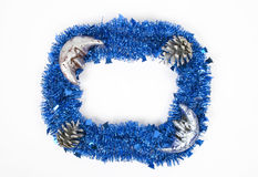 Blue christmas wreath isolated on white background Royalty Free Stock Photography