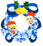 Blue Christmas wreath and Santa Claus Royalty Free Stock Photography