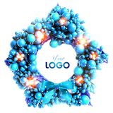 Blue Christmas wreath on a white background isolated. royalty free stock photos