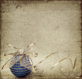 Blue christmass ball and ribbon Royalty Free Stock Photography