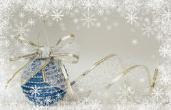 Blue christmass ball and ribbon Stock Image