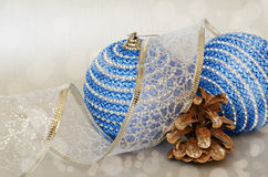 Blue christmass balls and pinecone Royalty Free Stock Photo