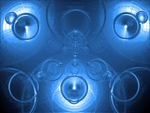 Blue chrome. Abstract blue chrome background, with circles Stock Image