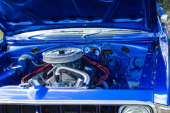Blue chrome auto car engine Stock Photography