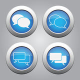 Blue chrome buttons set-white speech bubbles icons Royalty Free Stock Photos