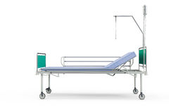 Blue and chrome mobile hospital bed with recliner. 3d illustration, isolated against a white background Stock Photography