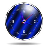 Blue chrome plated watch. In metal case. Vector illustration royalty free illustration