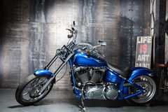 Blue chrome road bike Royalty Free Stock Photo