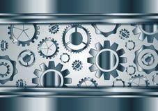 Blue chrome vector gears mechanism background. Blue chrome tech gears mechanism background. Vector technology metallic design Stock Photography