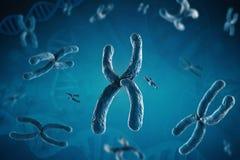 Blue chromosome. 3d rendering blue chromosome on blue background royalty free stock image
