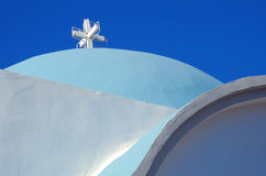 Blue church. Image of a greek blue church rooftop Royalty Free Stock Image