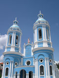 Blue church in Cuenca, Ecuador. Church in South American country in celebration day Royalty Free Stock Photo