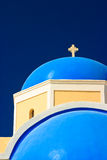 Blue Church Dome, Greece. The bright turquoise dome of a Greek Orthodox church in Santorini Royalty Free Stock Photography