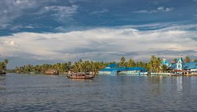 Blue Church with houseboats royalty free stock images
