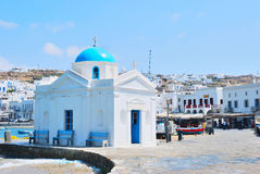 Blue church of Mykonos Royalty Free Stock Image
