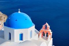Blue church at Santorini Stock Image