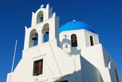 Blue church at Santorini Stock Images
